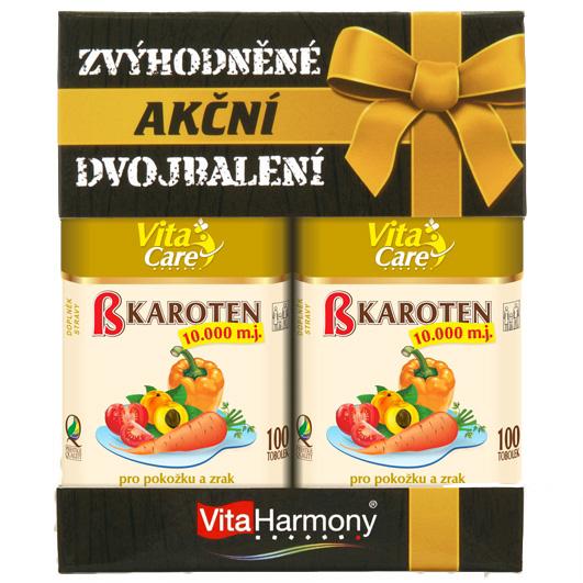 Vitaharmony Beta karoten 10.000 m.j. - Promobalení 1+1 zdarma, 100+100 tobolek