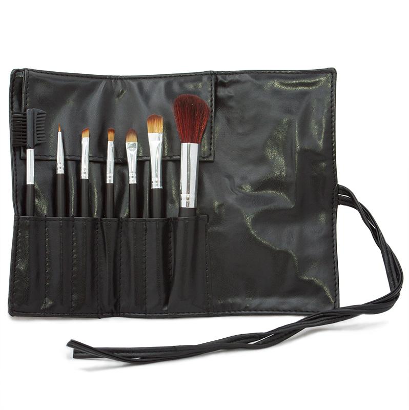 Kosmetická sada štětců pro make-up - 7 ks - černé pouzdro
