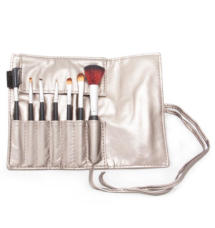 Kosmetická sada štětců pro make-up - 7 ks - stříbrno-šedé pouzdro